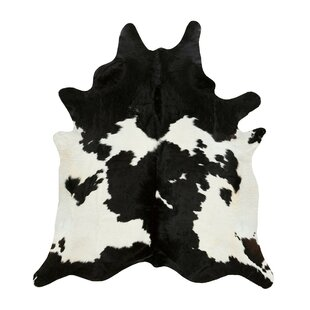 Bargain Miguel Cowhide Black/White Area Rug By Loon Peak