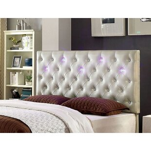Everly Quinn Royal Upholstered Panel Headboard with Led Lighting