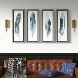 'Feathered Beauty Prints' 4 Piece Framed Graphic Art Set on Glass