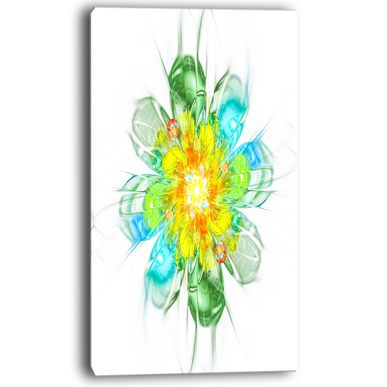 Designart Yellow Blue Glowing Fractal Flower Graphic Art On Wrapped Canvas Wayfair