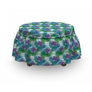 Exotic Island Leafage Ottoman Slipcover (Set Of 2) By East Urban Home