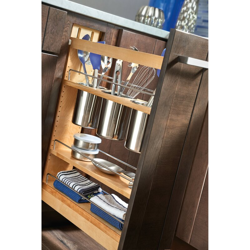 "Kitchen Cabinet Pull Out Shelf: Rev-A-Shelf 5"" Cabinet Utensil Organizer Pull Out Pantry"