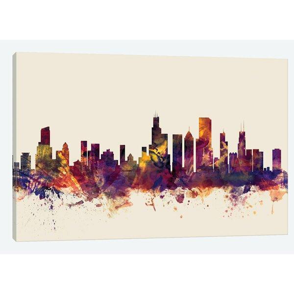 East Urban Home Skyline Series Chicago Illinois Usa On Beige Painting Print On Wrapped Canvas Wayfair