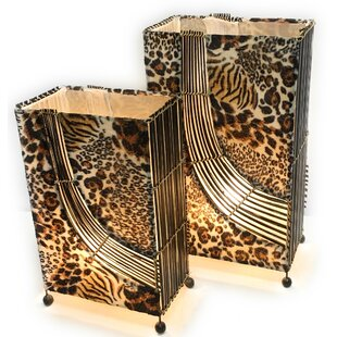 Madison Rectangle Tiger 2 Piece Table Lamp (Set of 2)