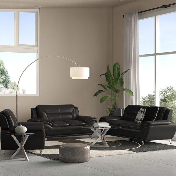 3 Piece Leather Sofa Set Wayfair Ca