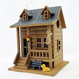 Home Bazaar Hatchling Series Log Cabin 8.5 in x 6.5 in x 6.5 in Birdhouse