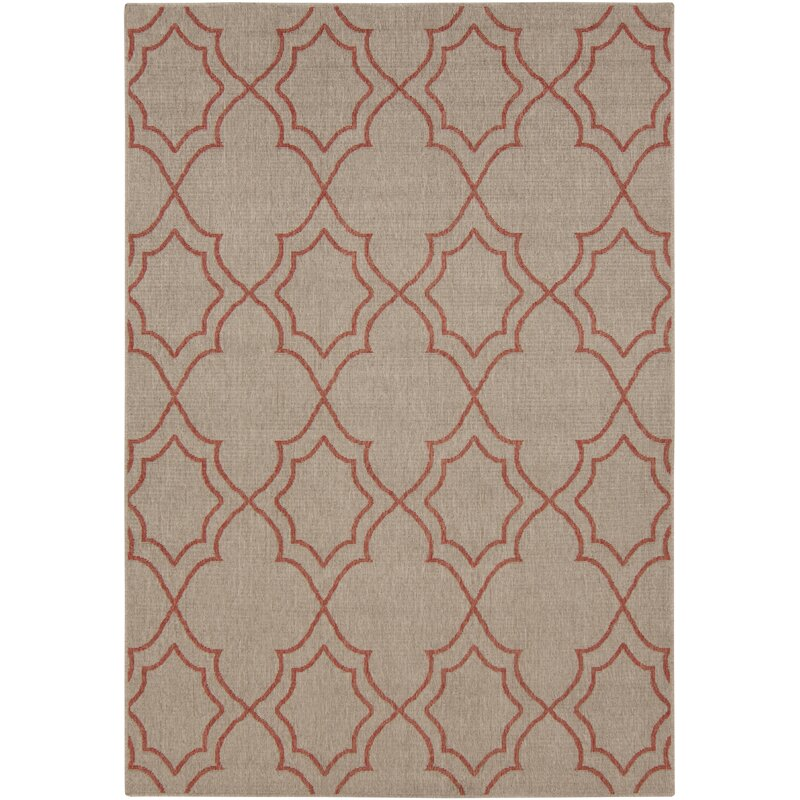 Alcott Hill Amato Taupe/Cherry Indoor/Outdoor Area Rug, Size: Rectangle 89 x 129