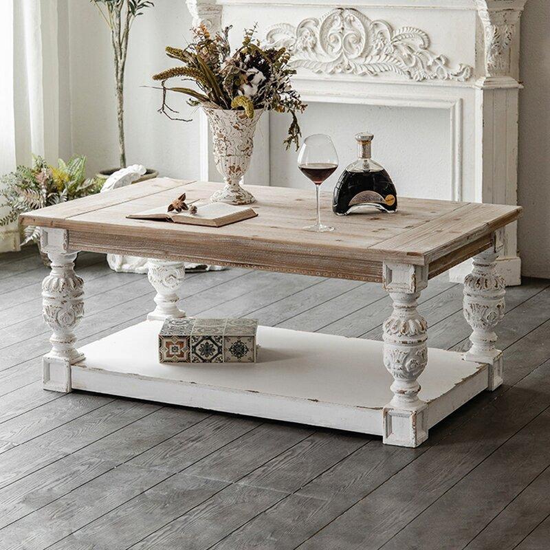 One Allium Way Wickes Floor Shelf Coffee Table With Storage Wayfair