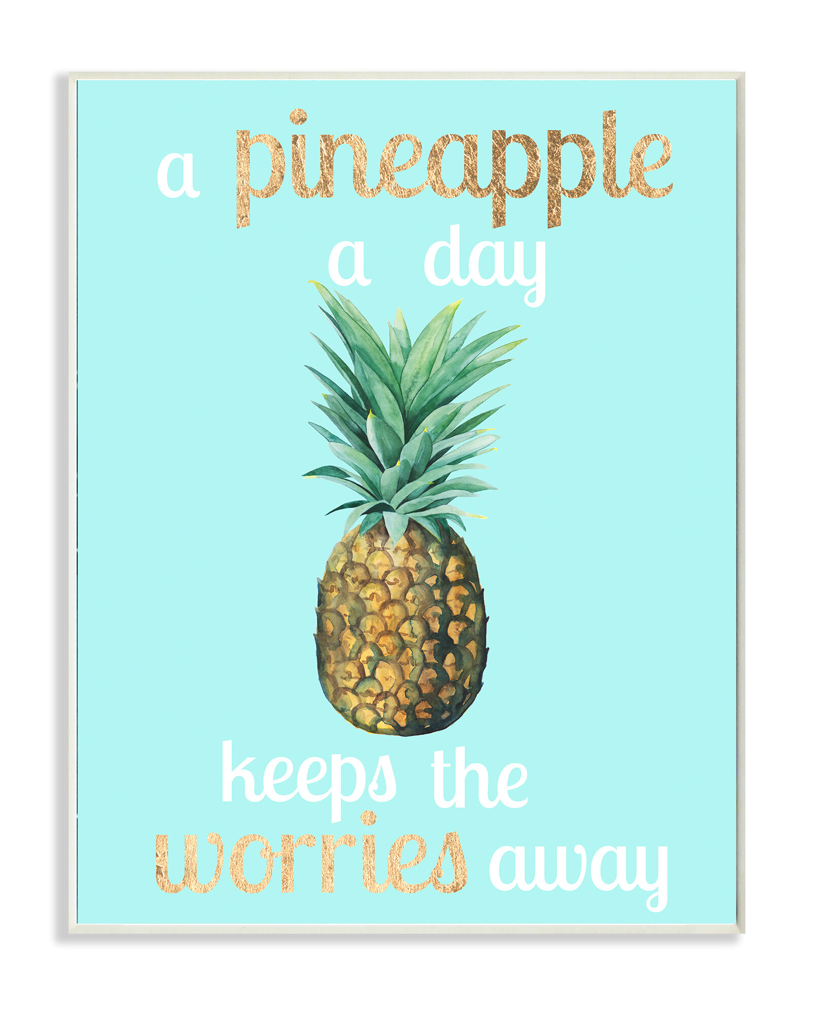 Stupell Industries A Pineapple A Day Keeps The Worries Away By Studio W Textual Art Print On Canvas Wayfair