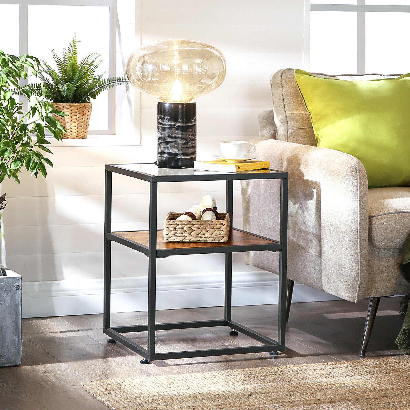 17 Stories Riddell Glass Top Frame End Table With Storage Reviews Wayfair