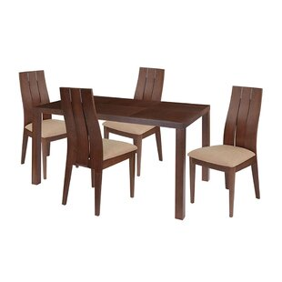 Amaryllis 5 Piece Solid Wood Dining Set by Ebern Designs