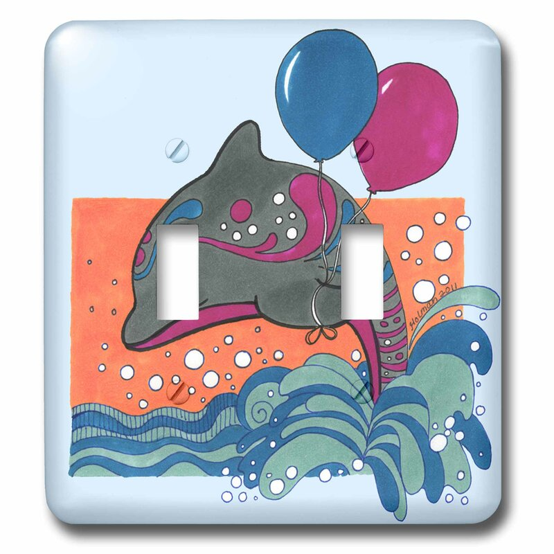 3drose Dolphin Ocean Splash Whimsical Dolphin With Balloon Colorful Child Children Fish Balloons 2 Gang Toggle Light Switch Wall Plate Wayfair