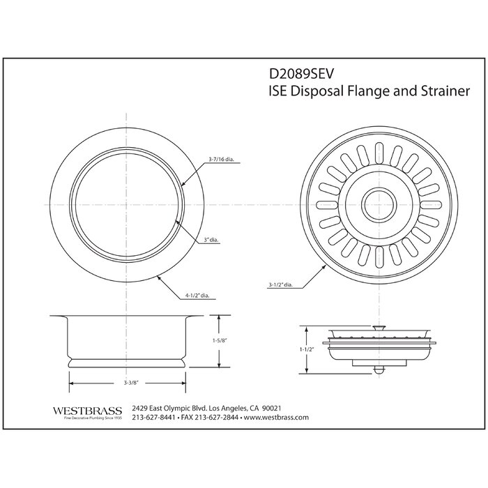 In-Sink-Erator Style Disposal Flange and Strainer Basket
