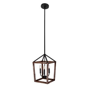 Gracie Oaks Hillsville Rustic Weathered Oak Wood 3-Light Lantern Pendant