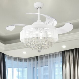 43 Broxburne Cool Light 4 Blade LED Ceiling Fan with Remote by House of Hampton