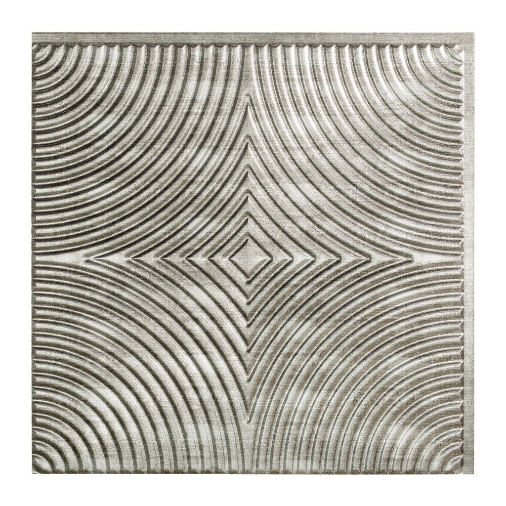 Fasade Echo 2 Ft X 2 Ft Glue Up Ceiling Tile In Cross Hatch Silver Wayfair