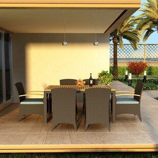 Harmonia Living Arbor 7 Piece Teak Dining Set with Sunbrella Cushions