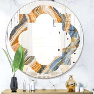 Quatrefoil Marbled Geode 4 Eclectic Frameless Wall Mirror by East Urban Home