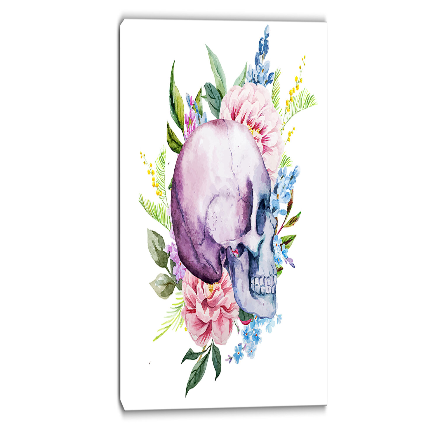 Designart Skull With Flower Borders Digital Floral Graphic Art On Wrapped Canvas Wayfair