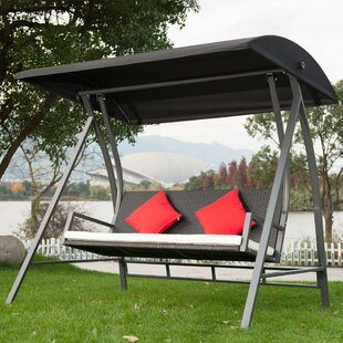 Kroeger PE Wicker Glider Outdoor Porch Swing with Stand by Bayou Breeze