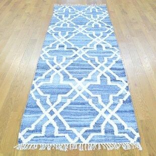 One Of A Kind Flossmoor Handmade Kilim Runner 2 8 X Wool Blue White Area Rug