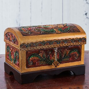 Bird and Flowers Embossed Leather and Cedar Wood Jewelry Box By Novica