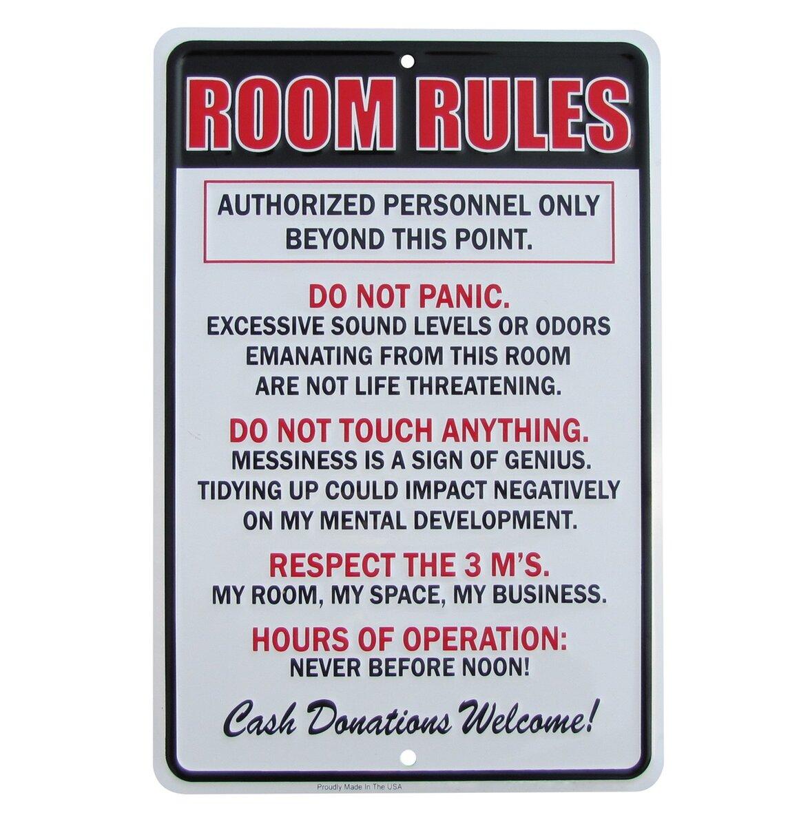 Warning Teenagers Bedroom Door Sign Wall Plaque Funny Children Teenagers Gift