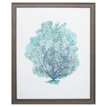 U0027Aqua Coral On White Iu0027 Framed Graphic Art Print