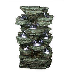 Alpine Polystone/Fiberglass Tiered Rock Rainforest Fountain with Light
