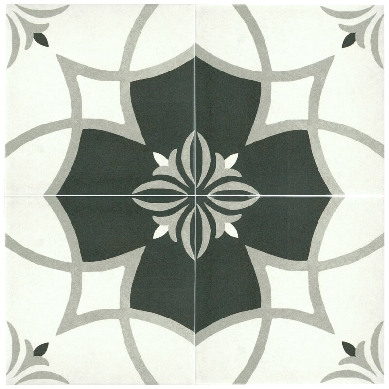 black and white tile floor. Forties 7 75  x Ceramic Field Tile in Floor You ll Love Wayfair