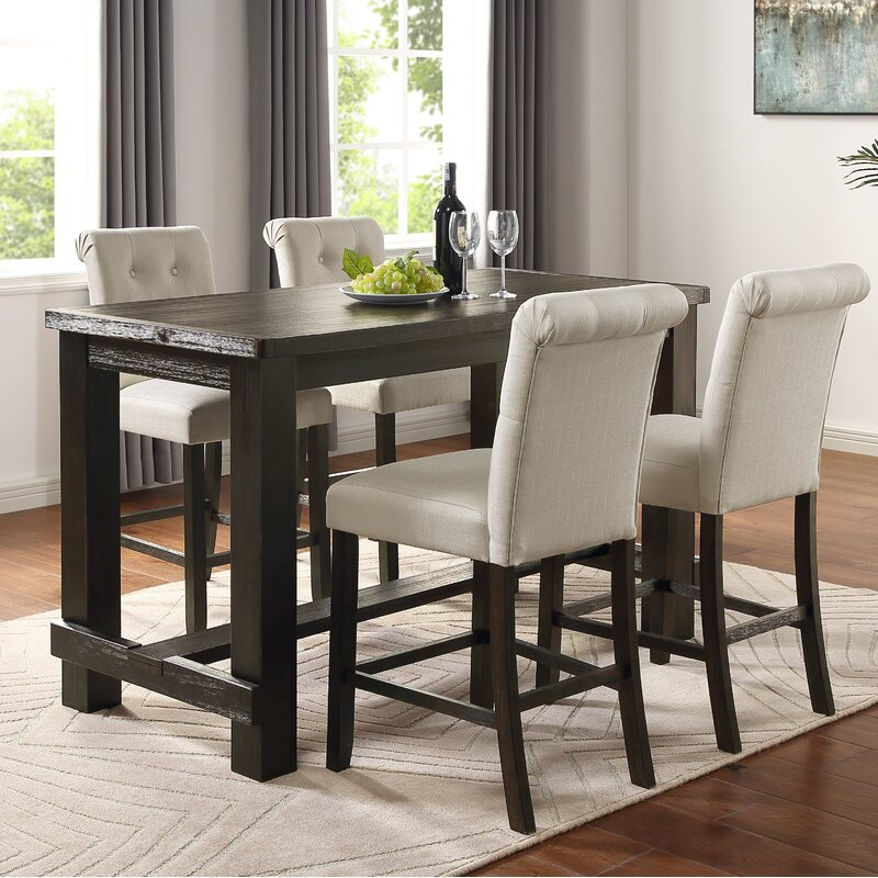 White Cane Outdoor Furniture, Foundry Select Danica 5 Piece Counter Height Dining Set Reviews Wayfair