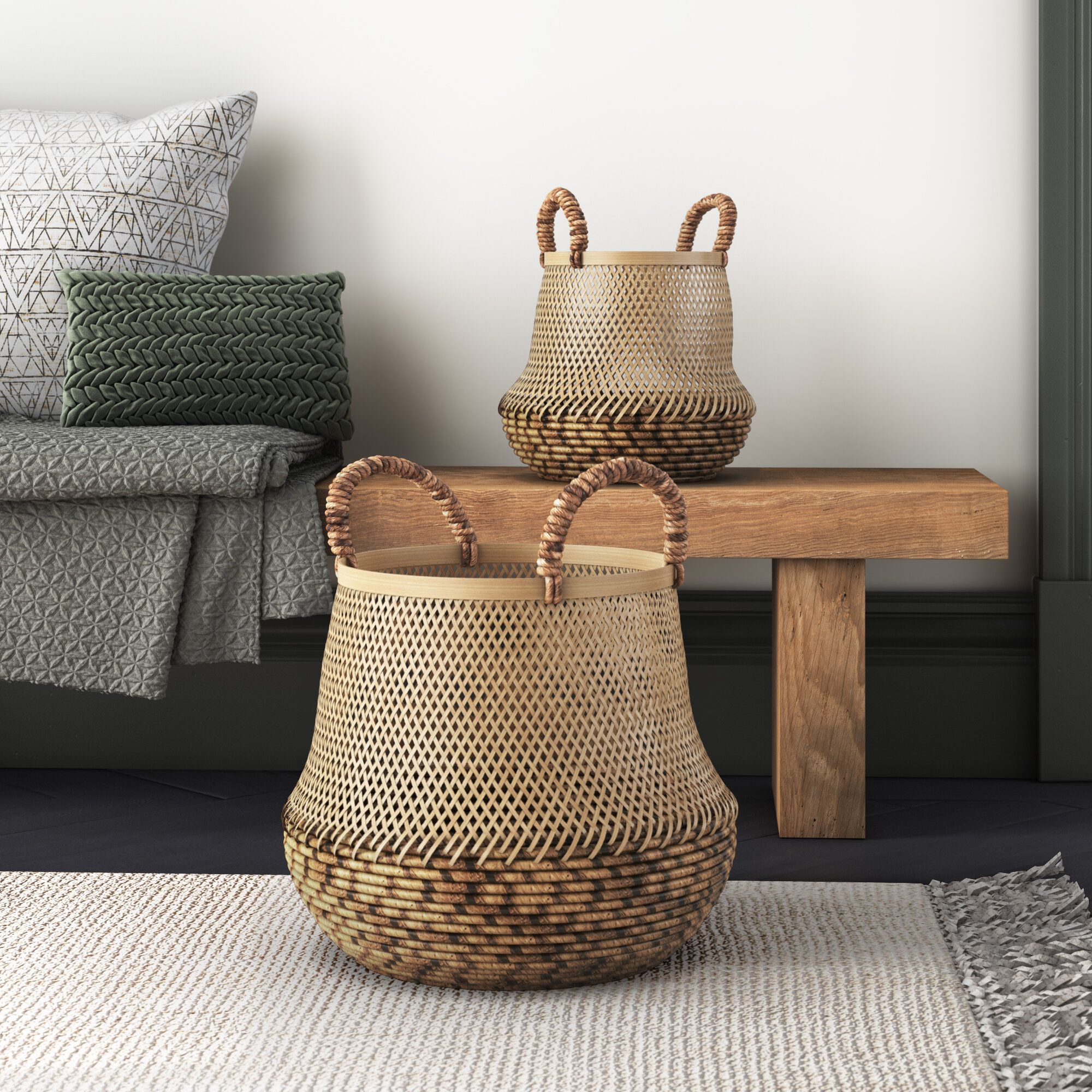 Joss Main Handwoven 2 Piece Bamboo Basket Set Wayfair