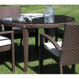 Ferrero Patio Woven Round Dining Table with Umbrella Hole