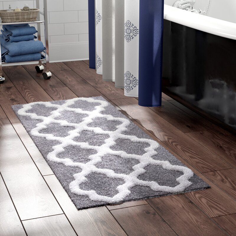 The Twillery Co Long Trellis Rectangular 100 Cotton Non Slip Geometric Bath Rug Reviews Wayfair