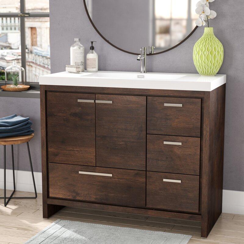 Almendarez Free Standing Modern 41 Rectangular Single Bathroom Vanity Set