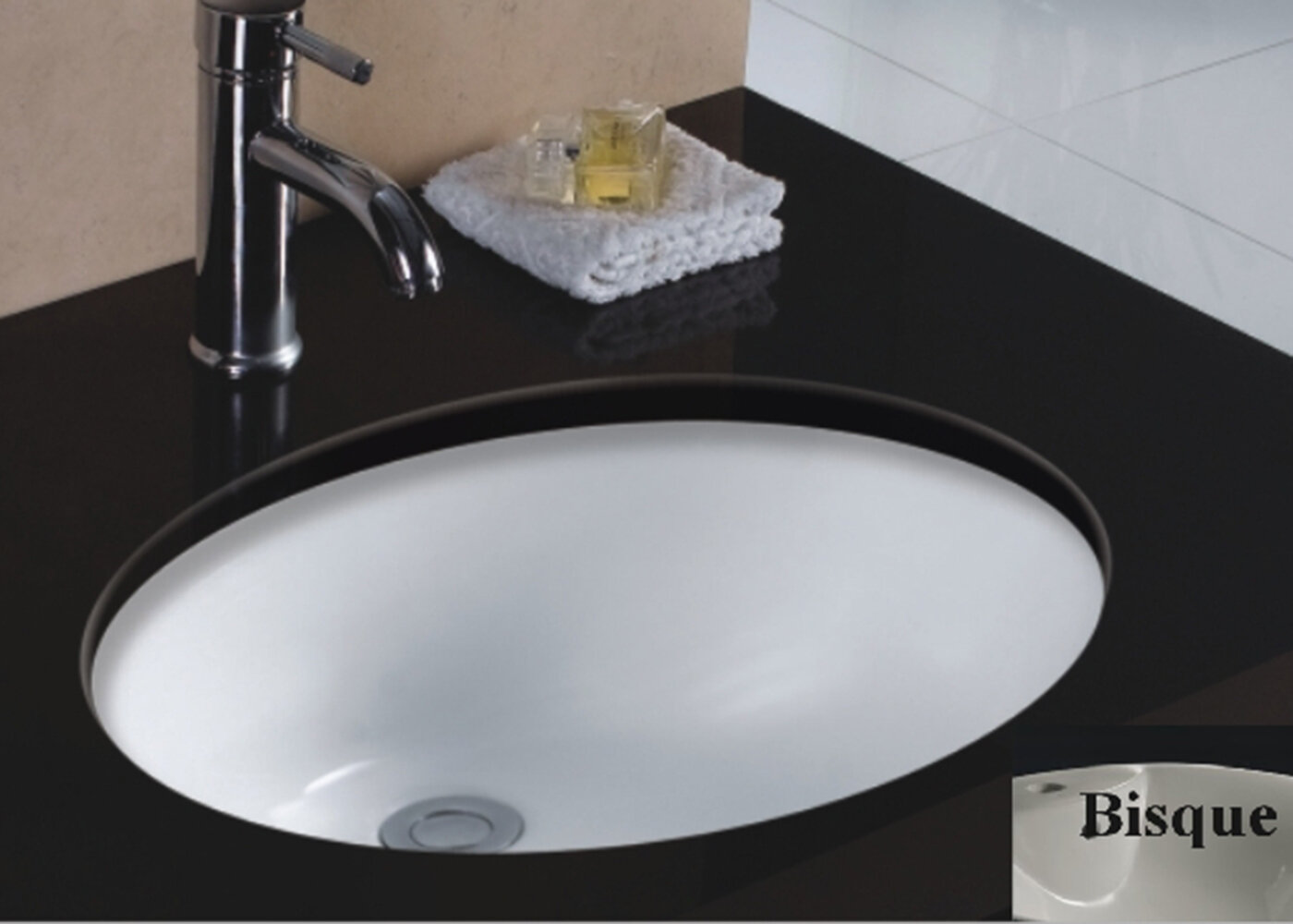 Rhythm Series Ceramic Oval Undermount Bathroom Sink with Overflow