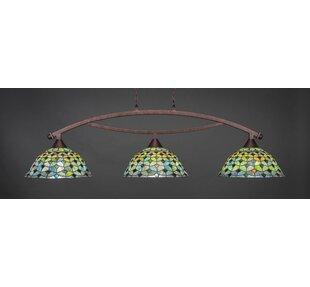 Astoria Grand Austinburg Tiffany 3-Light Kitchen Island Pendant