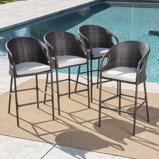 Spaeth Patio Bar Stool with Cushion (Set of 4)