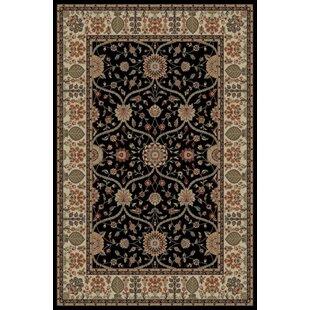 Look for Edmont Jewel Voysey Black Floral Area Rug ByWorld Menagerie