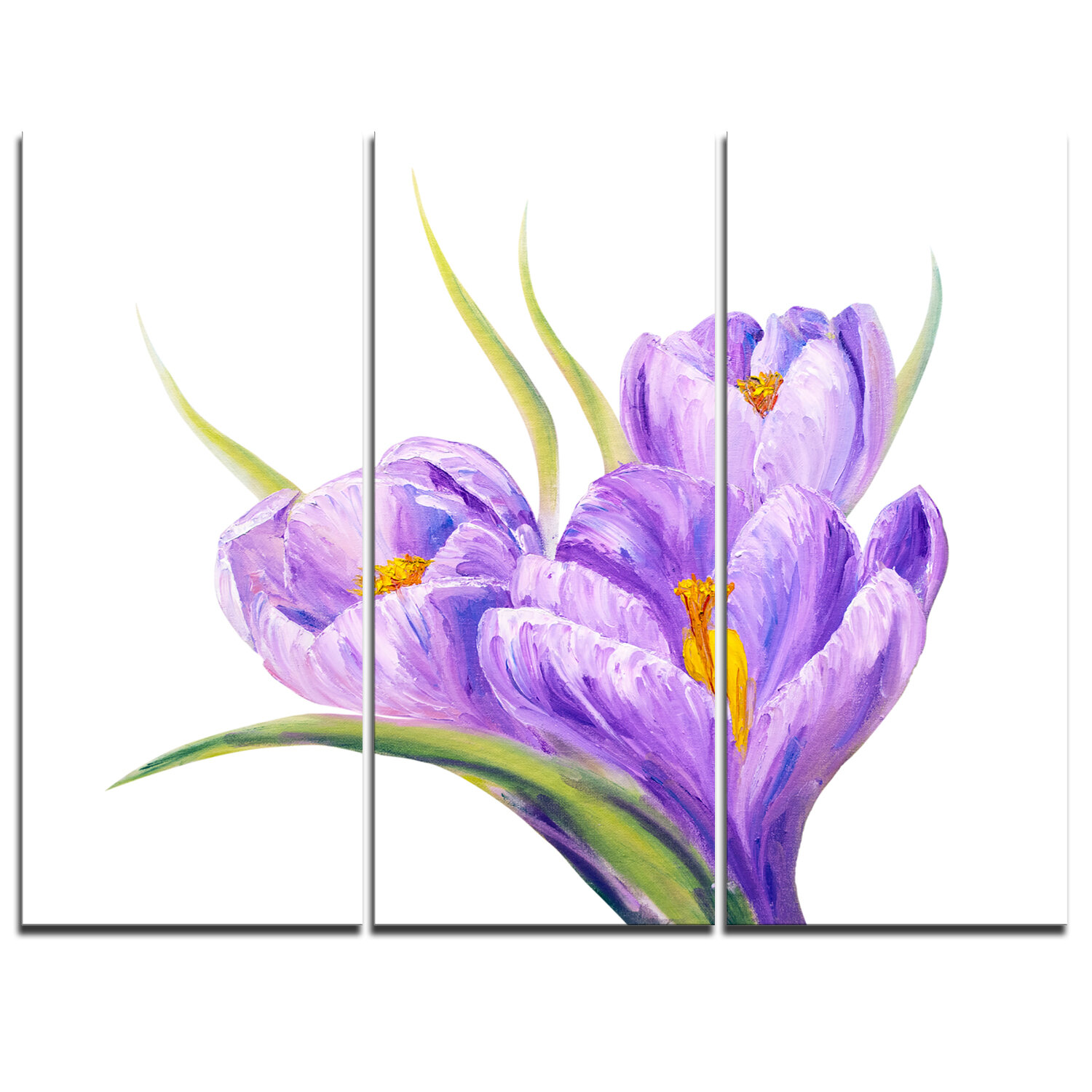 Designart Crocuses In White Background 3 Piece Painting Print On Wrapped Canvas Set Wayfair