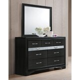 Carrizo Beveled Edge 9 Drawer Double Dresser with Mirror by Ebern Designs