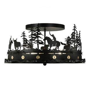 Cowboy and Steer 4-Light Semi-..