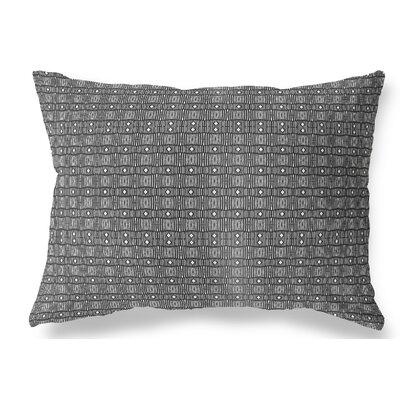 "Union Rustic Licata Indoor/Outdoor Lumbar Pillow Colour: White/Black, Size: 12"" x 16"""