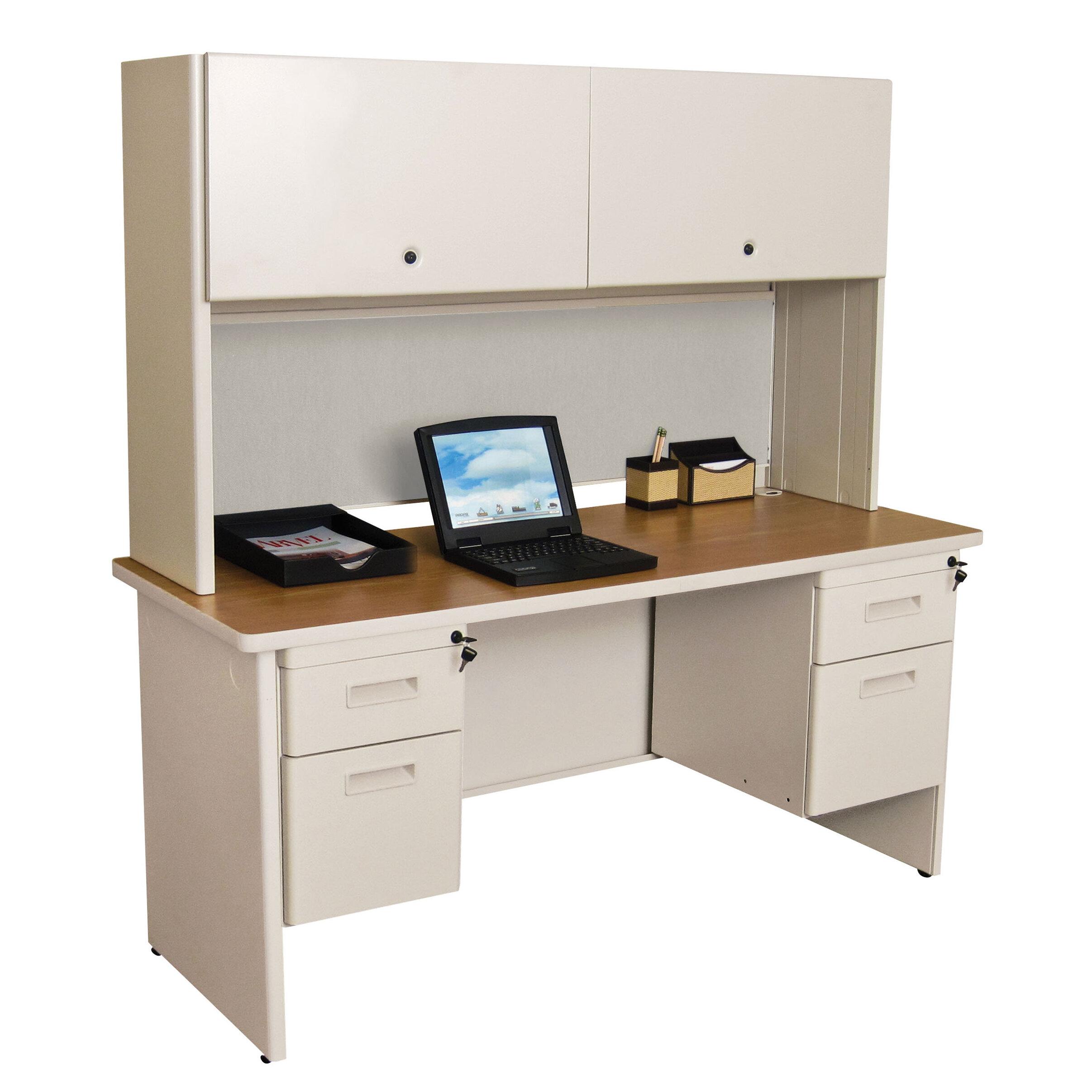 Crivello Double File Computer Desk With Hutch