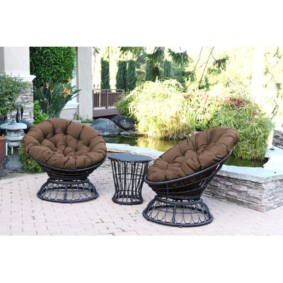 Barrigan 3 Piece 2 Person Seating Group with Cushions Fabric: Brown by World Menagerie