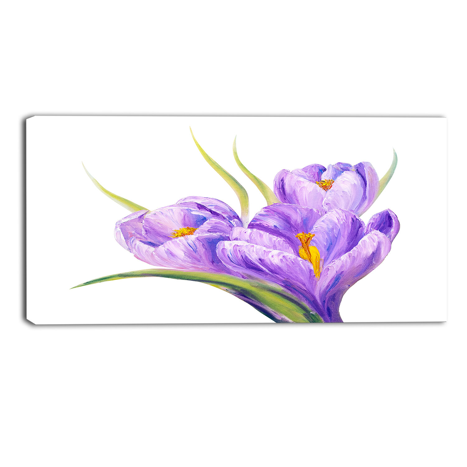 Designart Crocuses Background Floral Painting Print On Wrapped Canvas Wayfair
