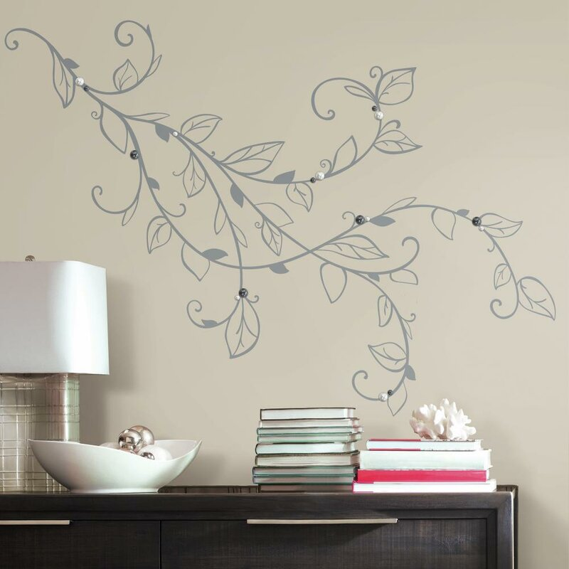 Room Mates Deco Silver Leaf Giant with Pearls Peel and Stick Wall Decal