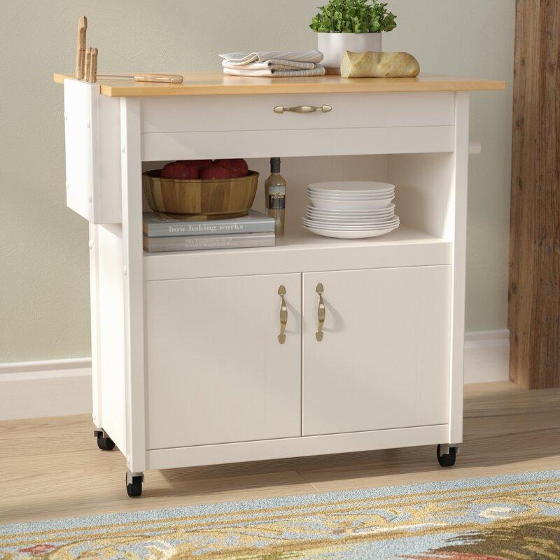 august grove allie kitchen cart with wood & reviews   wayfair