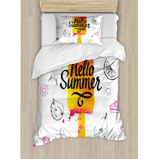 Ice Cream Hello Summer Motivational Quote with Heart Sun Cake Color Splash Image Duvet Set by Ambesonne