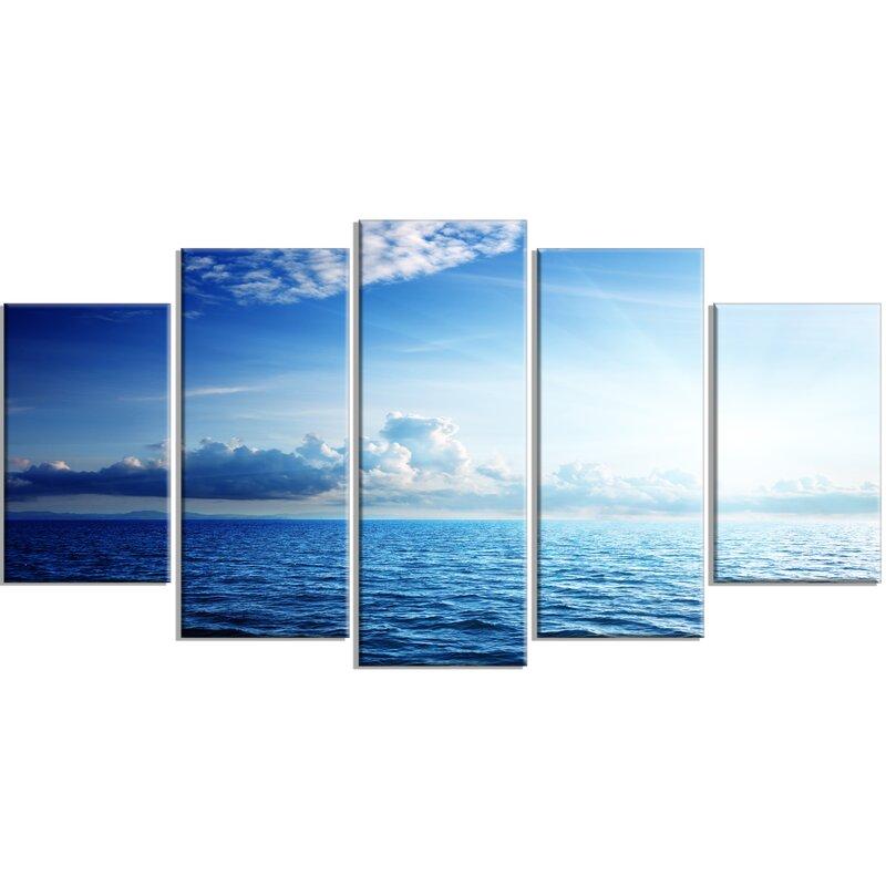 Designart Blue Caribbean Sea And Perfect Blue Sky 5 Piece Photographic Print On Wrapped Canvas Set Wayfair
